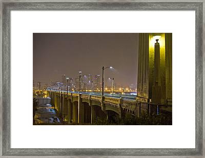 Rain On The Sixth Street Bridge  Framed Print by Kevin  Break