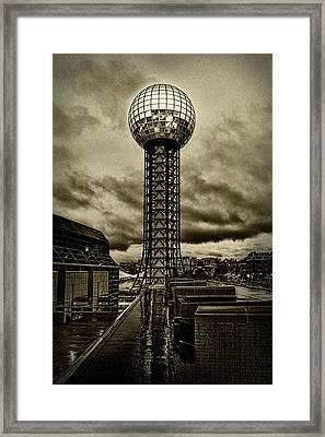 Rain On The Sunsphere Framed Print by Sharon Popek