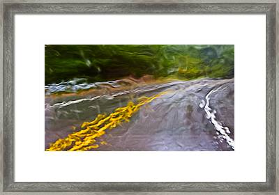 Rain On The Windshield Motion Blur And Rain Blur Framed Print by Ed Book