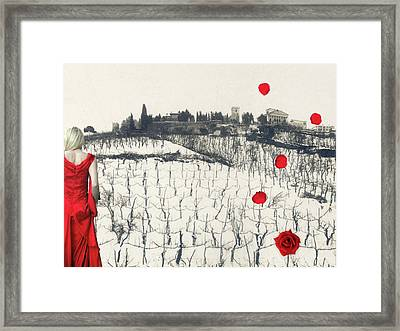 Rain Red Roses Framed Print