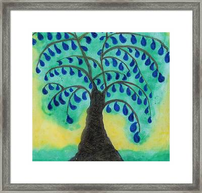 Rain Drop Umbrella Tree Framed Print