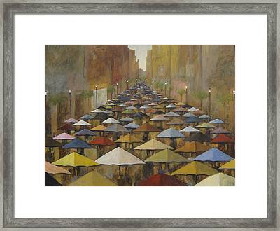 Framed Print featuring the painting Rain Street by Glenn Quist