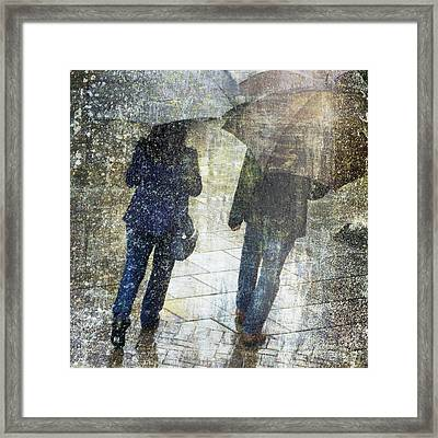 Rain Through The Fountain Framed Print