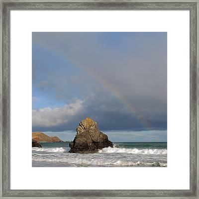 Rainbow Above Sango Bay Sea Stack Framed Print by Maria Gaellman