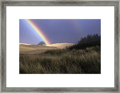 Rainbow And Dunes Framed Print