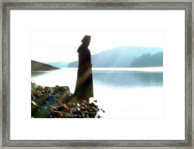 Rainbow And The Lake Framed Print by Tim Cargill
