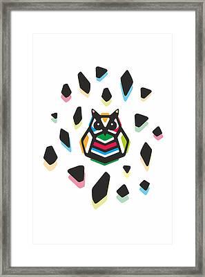 Rainbow Anigami Owl Framed Print by Julia Jasiczak