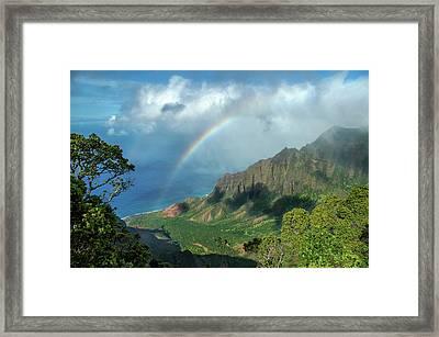 Rainbow At Kalalau Valley Framed Print by James Eddy