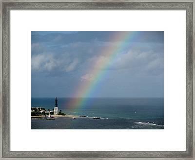 Rainbow At Lighthouse Framed Print