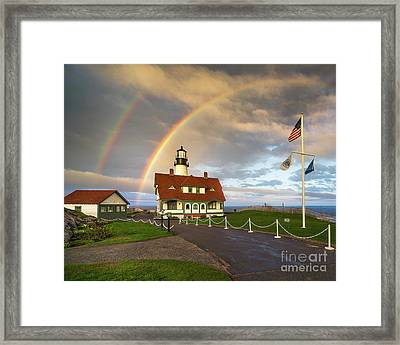 Rainbow At Portland Head Light Framed Print by Benjamin Williamson