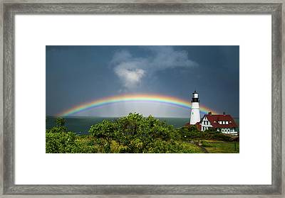 Rainbow At Portland Headlight Framed Print