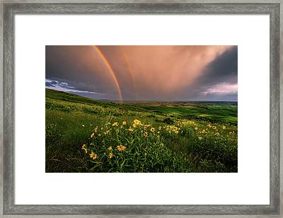 Rainbow At Steptoe Butte Framed Print