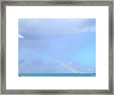 Framed Print featuring the digital art Rainbow At The Beach 1 by Francesca Mackenney