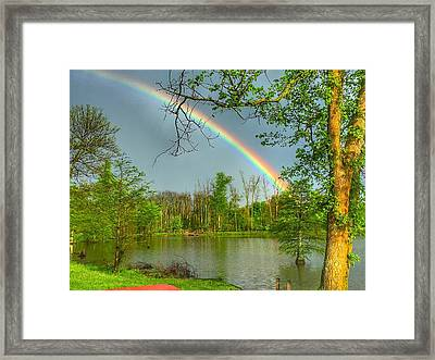 Rainbow At The Lake Framed Print