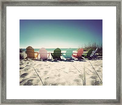 Rainbow Beach-vintage Framed Print by Chris Andruskiewicz