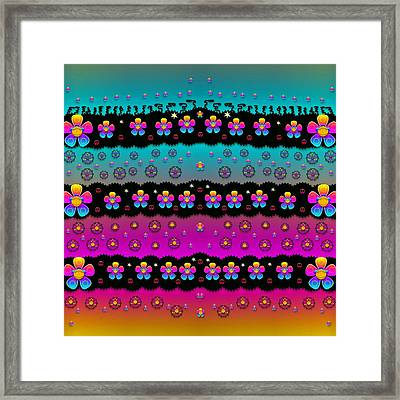 Rainbow  Big Flowers In Peace For Love And Freedom Framed Print by Pepita Selles