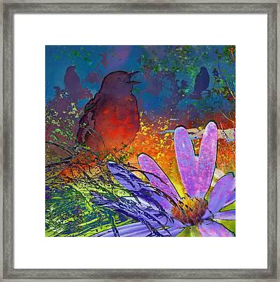 Rainbow Bird Song Framed Print by LeAnne Perry