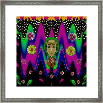 Rainbow Bohemian Peace Girl Framed Print by Pepita Selles