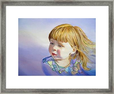 Rainbow Breeze Girl Portrait Framed Print by Irina Sztukowski