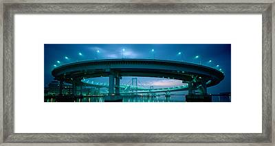Rainbow Bridge And Daiba Line Tokyo Framed Print by Panoramic Images