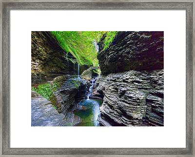 Rainbow Bridge And Falls Framed Print by Rodney Campbell
