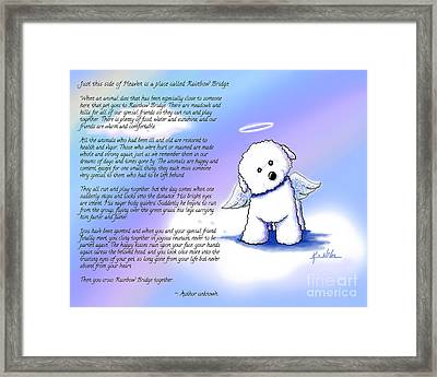 Rainbow Bridge Bichon Angel Framed Print by Kim Niles
