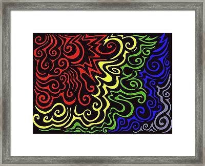 Rainbow Burst Tribal Framed Print