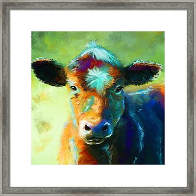 Rainbow Calf Framed Print