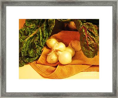 Rainbow Chard And Pearl Onions Framed Print by Jamey Balester