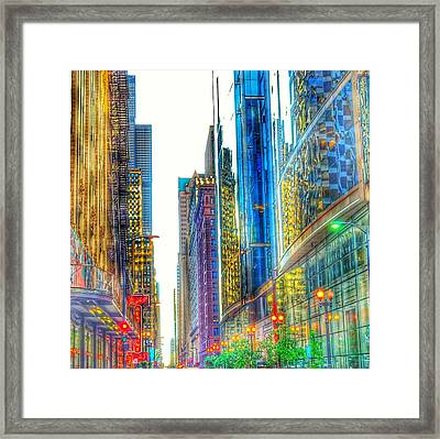 Framed Print featuring the photograph Rainbow Cityscape by Marianne Dow