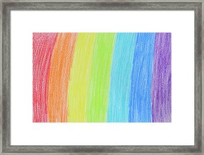 Rainbow Crayon Drawing Framed Print by GoodMood Art