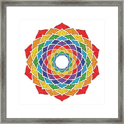 Rainbow - Crown Chakra - Pointillism Framed Print by David Weingaertner