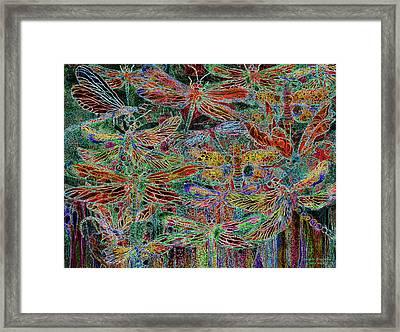 Framed Print featuring the mixed media Rainbow Dragonflies by Carol Cavalaris