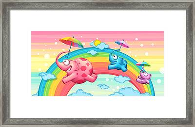 Rainbow Elephants Framed Print by Tooshtoosh