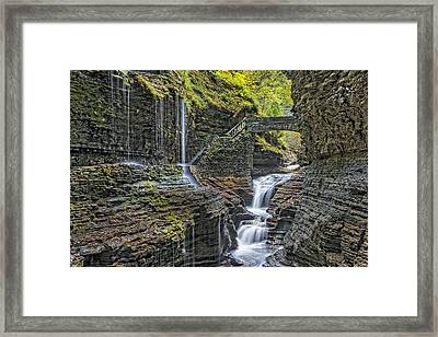 Rainbow Falls At Watkins Glen State Park Framed Print