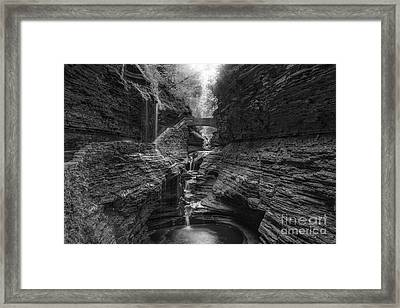 Rainbow Falls Bw Framed Print by Michael Ver Sprill