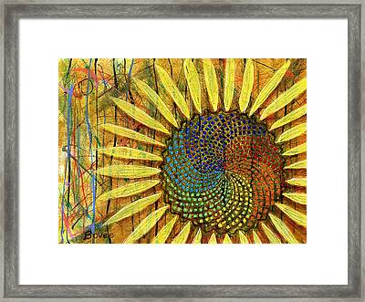 Rainbow Fibonacci Sunflower Framed Print by Julie Bovee