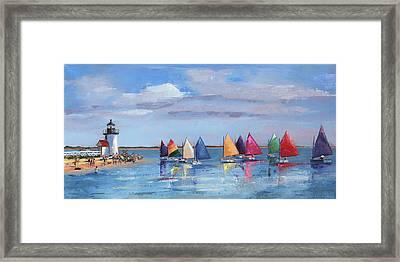 Rainbow Fleet Parade At Brant Point Framed Print by Trina Teele