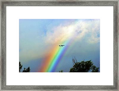 Rainbow Flight Over Denver Colorado Framed Print