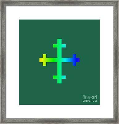 Rainbow Flory Heraldry Cross Framed Print