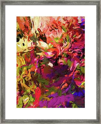 Rainbow Flower Rhapsody Purple Green Framed Print