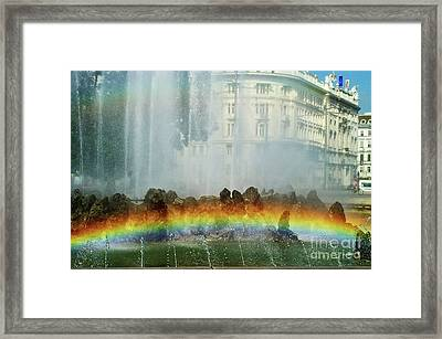Framed Print featuring the photograph Rainbow Fountain In Vienna by Mariola Bitner