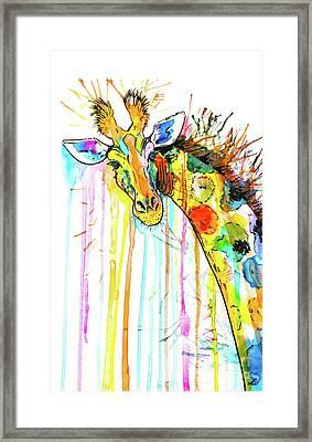 Framed Print featuring the painting Rainbow Giraffe by Zaira Dzhaubaeva
