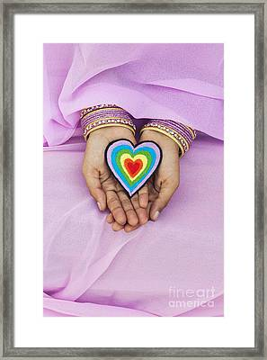 Rainbow Heart Hands Framed Print by Tim Gainey