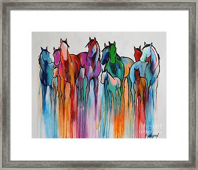 Framed Print featuring the painting Rainbow Horses by Cher Devereaux