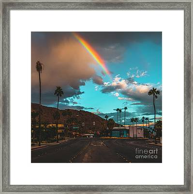 Rainbow In Palm Springs Framed Print by Art K