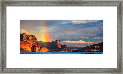 Rainbow In The Padre Bay, Lake Powell Framed Print by Henk Meijer Photography