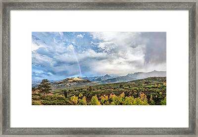 Framed Print featuring the photograph Rainbow In The San Juan Mountains by Jon Glaser