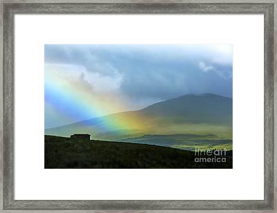 Rainbow In The Scottish Highlands Framed Print by Diane Diederich