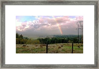 Rainbow Into The Pacific Framed Print